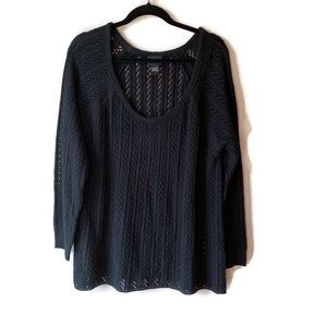 Torrid Scoop Neck Open Weave Black Sweater 1X